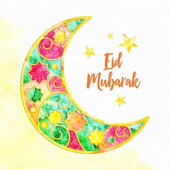 Kleurrijke gebrandschilderd glas maan eid mubarak
