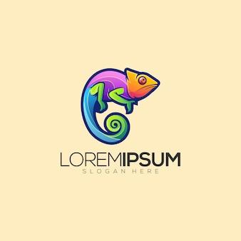 Kleurrijke gecko premium logo vector
