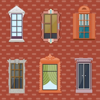 Kleurrijke gedetailleerde windows flat set