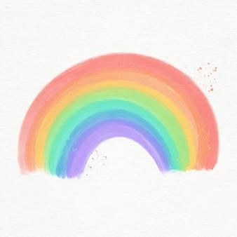 Kleurrijke geïllustreerde waterverfregenboog