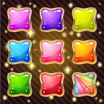 Kleurrijke gelei voor match 3 puzzelspel 9 kleuren.