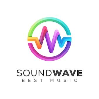 Kleurrijke geluidsgolf equalizer muziek logo ontwerpsjabloon