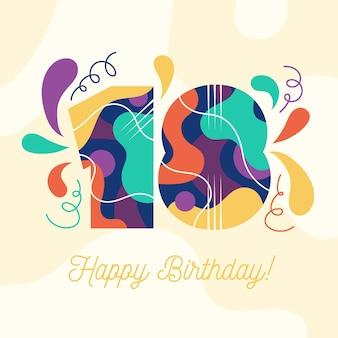 Kleurrijke gelukkige 18e verjaardag achtergrond Premium Vector