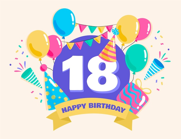 Kleurrijke gelukkige 18e verjaardag achtergrond