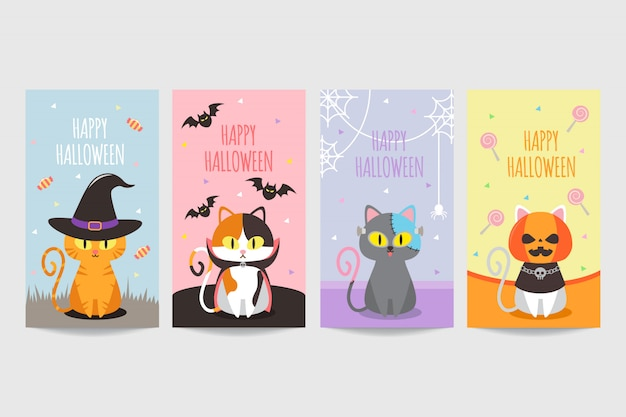 Kleurrijke gelukkige halloween-banner met leuke kat die kostuum draagt