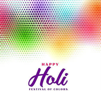 Kleurrijke gelukkige holi halftone stijlkaart