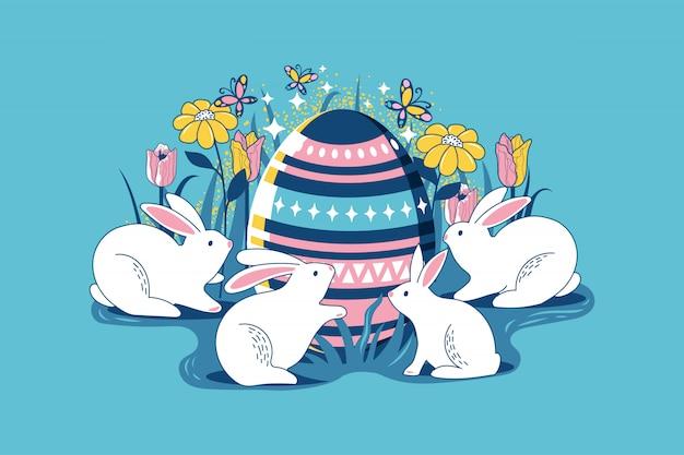 Kleurrijke gelukkige pasen-groetkaart met bloemeieren en de samenstelling van konijnelementen