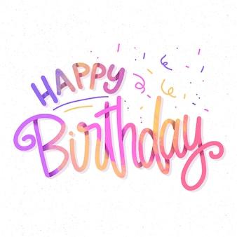 Kleurrijke gelukkige verjaardag belettering met confetti