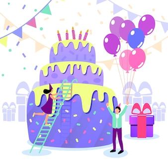 Kleurrijke gelukkige verjaardag met mensen.