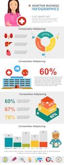 Kleurrijke geneeskunde of gezondheidszorg infographic grafieken instellen