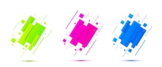 Kleurrijke geometrische banners. moderne dynamische vormen