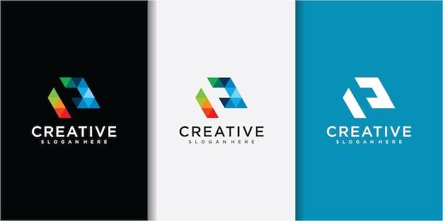 Kleurrijke geometrische e brief logo symbool ontwerp illustratie. letter e-logo
