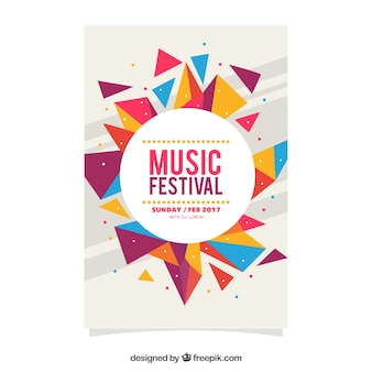 Kleurrijke geometrische festival festival poster