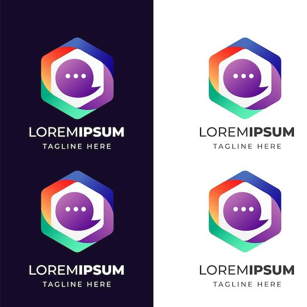 Kleurrijke geometrische met chat pictogram logo ontwerpsjabloon Premium Vector
