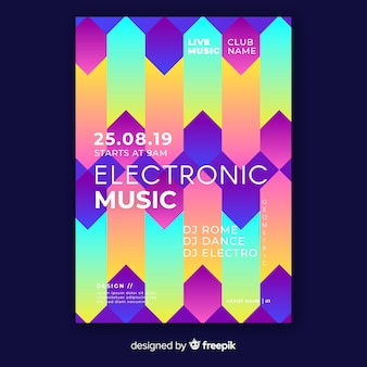 Kleurrijke geometrische muziek poster sjabloon