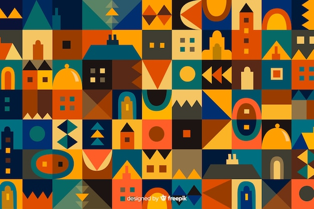 Kleurrijke geometrische vormen mozaïek achtergrond