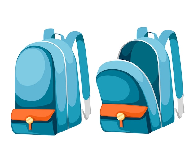 Kleurrijke geopende en gesloten schooltassen