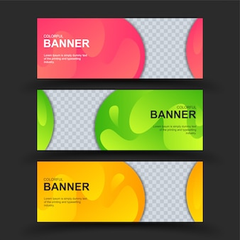 Kleurrijke geplaatste banners