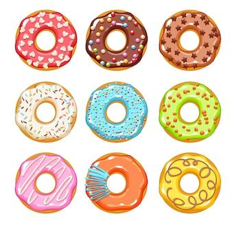 Kleurrijke geplaatste donutspictogrammen. zoete bakkerij.