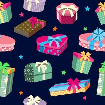 Kleurrijke geschenkdozen naadloze patroon.