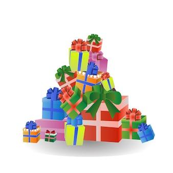 Kleurrijke geschenken gestapeld