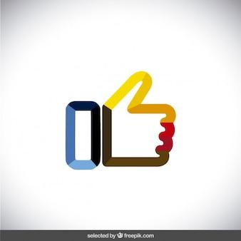 Kleurrijke geschetst duim omhoog