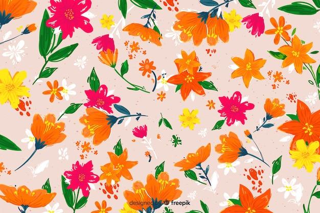 Kleurrijke geschilderde bloemen decoratieve achtergrond