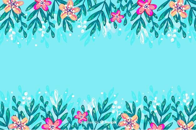 Kleurrijke geschilderde bloemenframe achtergrond