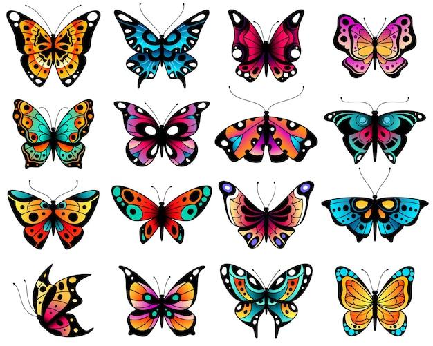 Kleurrijke gestileerde vlinders met opengewerkte vleugels