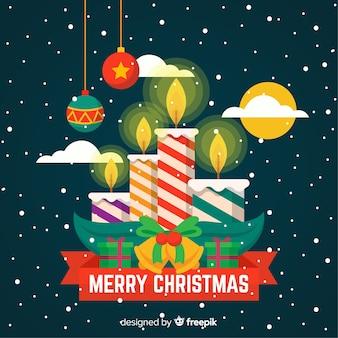 Kleurrijke gestreepte kaarsen kerstmis achtergrond