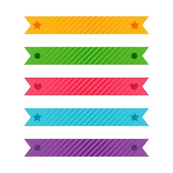 Kleurrijke gevormde linten of plakbandreeks