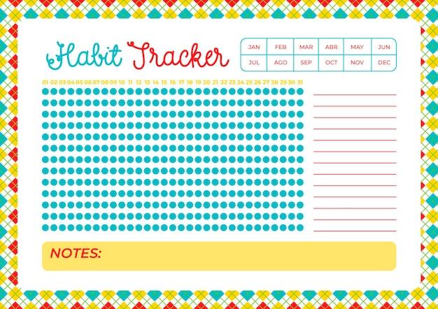 Kleurrijke gewoonte tracker-sjabloon