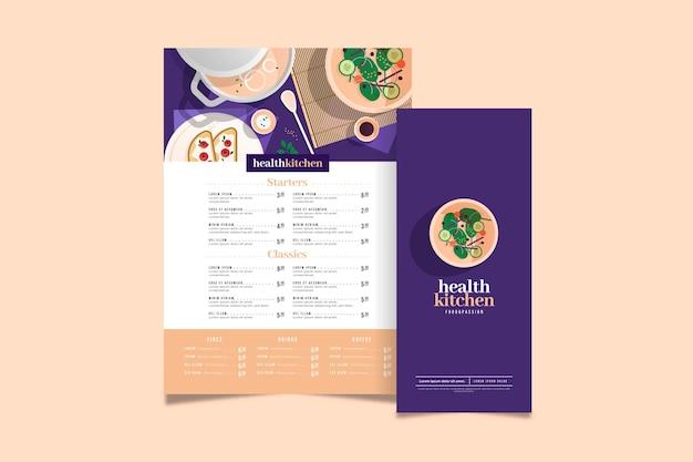 Kleurrijke gezonde voeding restaurant menusjabloon
