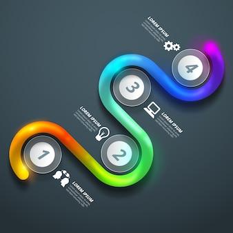 Kleurrijke glanzende infographic elementen
