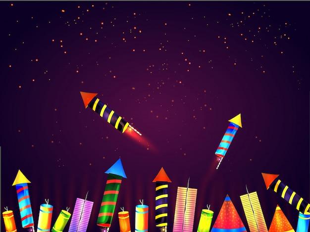Kleurrijke glanzende vuurkrakers verfraaide feestelijke achtergrond.