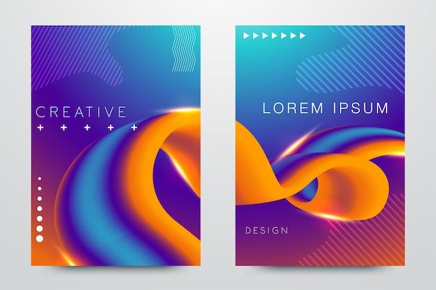 Kleurrijke glitch poster set
