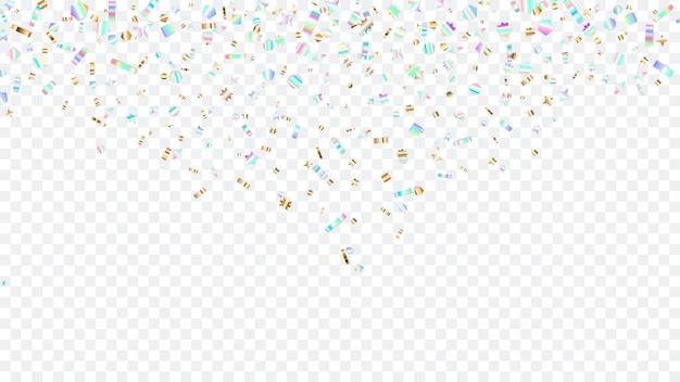 Kleurrijke glitters die van bovenaf vallen, op transparante achtergrond