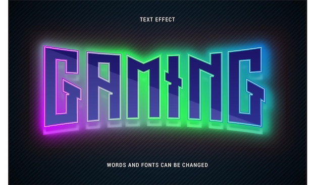 Kleurrijke gloeiende gaming teksteffect bewerkbare eps cc