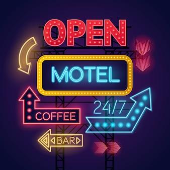 Kleurrijke gloeiende neonlichttekens voor motel en koffie die op donkerblauwe achtergrond worden geplaatst