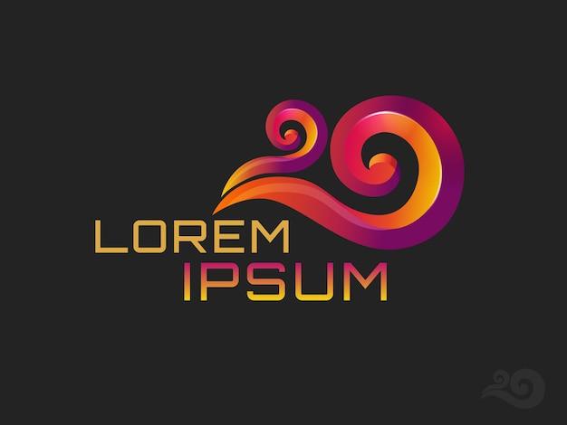 Kleurrijke golf logo sjabloon. gestileerd concept pictogram geïsoleerd op zwarte achtergrond