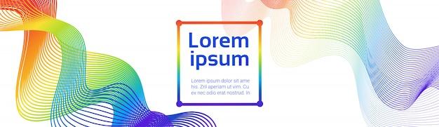 Kleurrijke golven abstracte lijnen op witte achtergrond soft futuristic smoothe horizontal banner