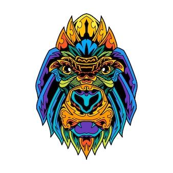 Kleurrijke gorilla hoofd zentanglestijl Premium Vector