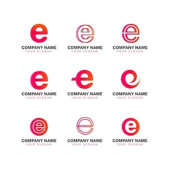 Kleurrijke gradiënt e logo set
