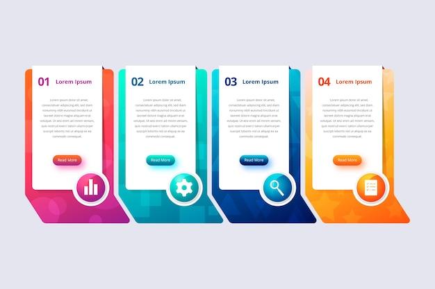 Kleurrijke gradiënt infographic stappen