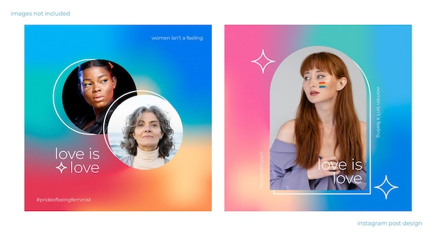 Kleurrijke gradiënt instagram-post met korrelig effect en regenboogkleuren over feminisme