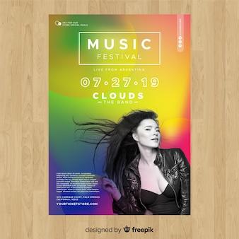 Kleurrijke gradiënt muziek festival poster met foto
