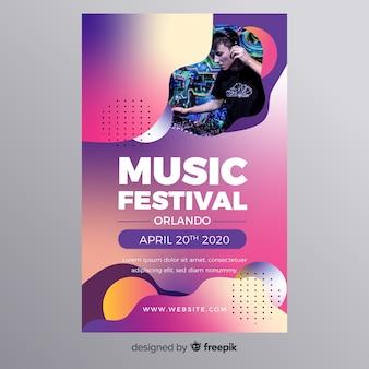 Kleurrijke gradiënt muziek festival poster
