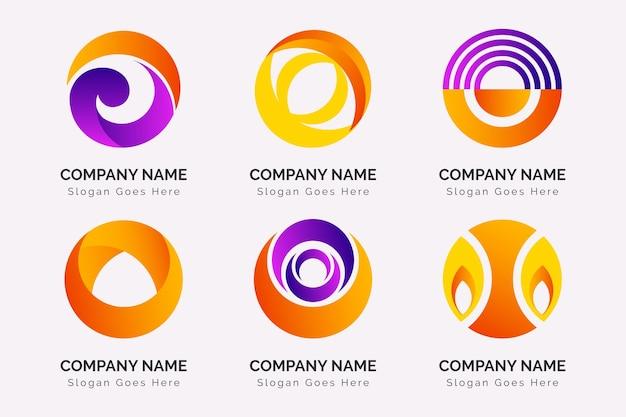 Kleurrijke gradiënt o logo-collectie