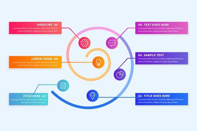 Kleurrijke gradiënt spiraal infographic