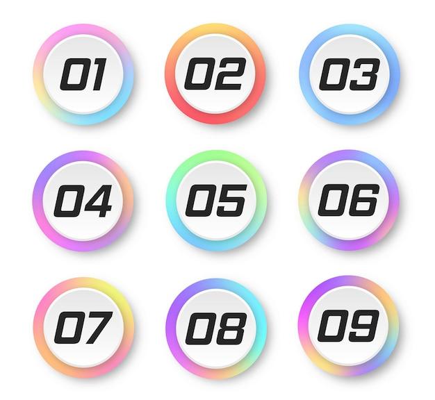 Kleurrijke gradiëntmarkeringen met nummer van 1 tot 9 kleurrijke markeringen moderne vlaggenpunten